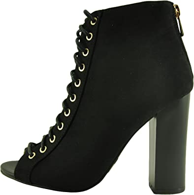 Details about  /Womens New Fashion Peep Toe Mesh Bowtie Block Heel Zipper Ankle Boots Shoes AEEM