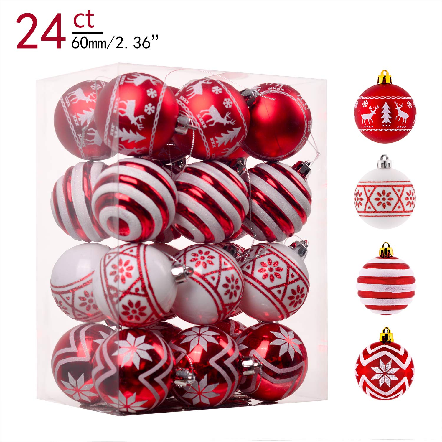 Teresa's Collections 24ct 60mm Traditional Red and White Shatterproof Christmas Ball Ornaments Decoration,Themed with Tree Skirt(Not Included)