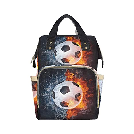 Balón de fútbol en pañales de fuego y agua Mochila Mochila Mamá ...