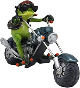 "Ebros 8.5"" Long Born to Ride Biker Frog with Red Bandanna Smoking Cigar Riding On Metallic Chopper Motorcycle Bike Statue Crazy for Frogs Toads Home Decor Accent"