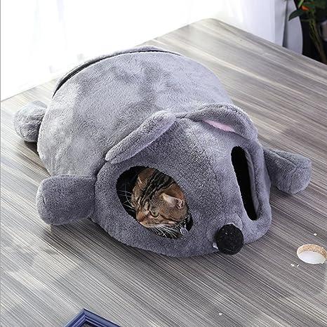 Cama para gatos con diseño de dibujos animados en forma de ratón para casa o casa