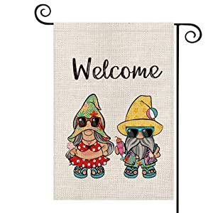 AVOIN Welcome Summer Hawaii Sunglasses Gnome Garden Flag Vertical Double Sized, Holiday Party Yard Outdoor Decoration 12.5 x 18 Inch