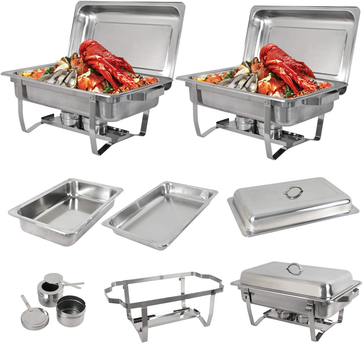 SUPER DEAL 8 Qt Stainless Steel 2 Pack Full Size Chafer Dish w/Water Pan, Food Pan, Fuel Holder and Lid For Buffet/Weddings/Parties/Banquets/Catering Events (2)