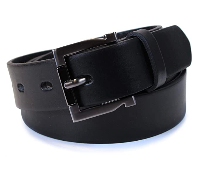 CM8 Mens Real Genuine Leather Black Belt 1.1 Wide S-L Thick Long Casual Jeans