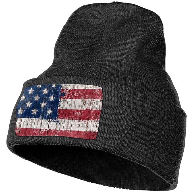 bd87acb5299 SZqBeHa Distressed American Flag Wood Winter Beanie Hat Warm Knit ...