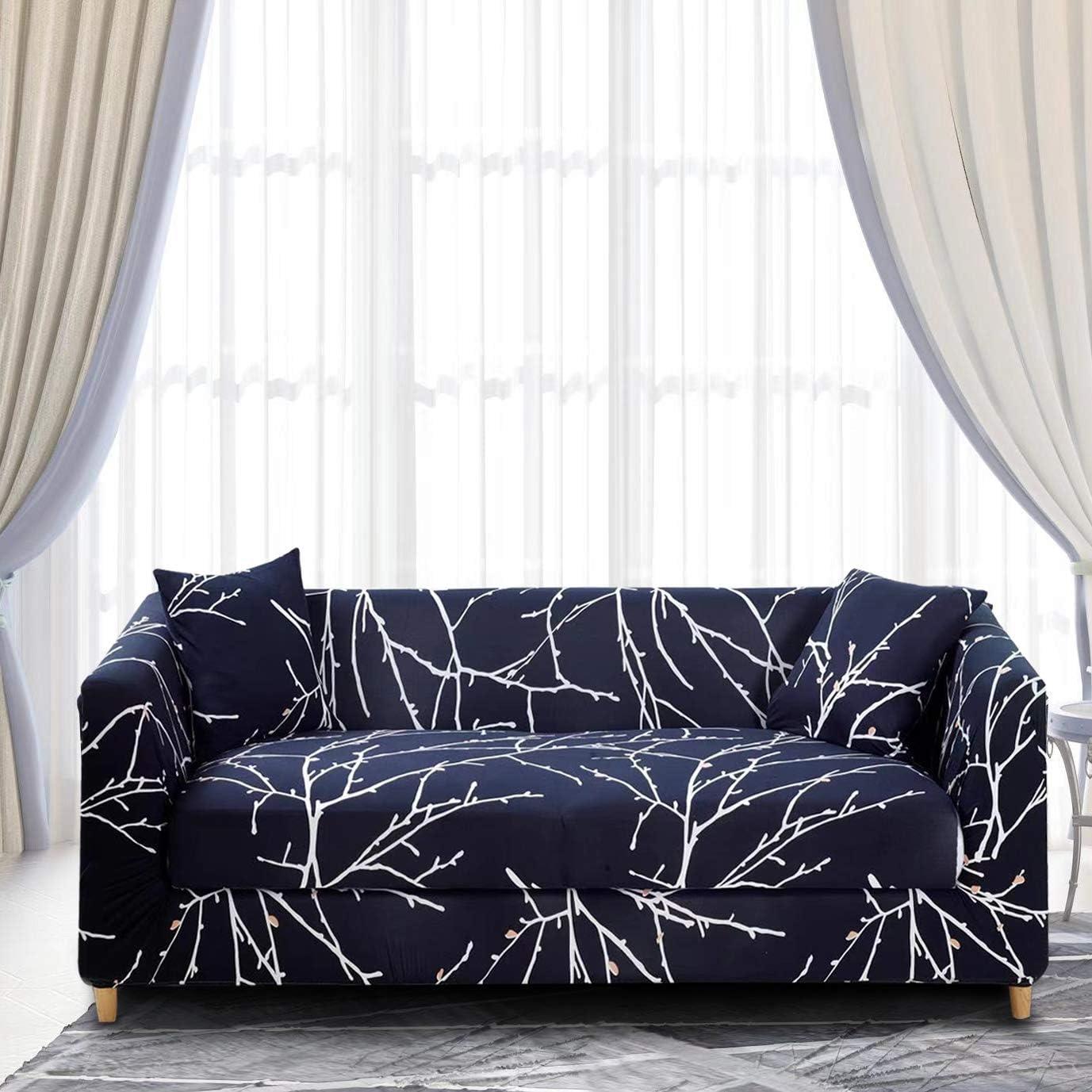 EENZER Funda de Sofa Elasticas 1 2 3 4 Plazas,Universal Fantasía Cubre Sofas Ajustables,Árbol Rama,2 Plazas / 135-170cm