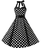 KUONUO Damen Kleider Sommer Rockabilly 50er Vintage Retro Neckholder Kleid Petticoat Faltenrock Blauer Punkt XXL