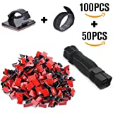 Cable Management - 100 PCS Adhesive Cable Clips + 50 PCS Cable Ties Rantizon Cable Clamp, Wire Clips, Car Cable Organizer, Reusable Fastening Cable Tie Organizer for Laptop, PC, TV, Car
