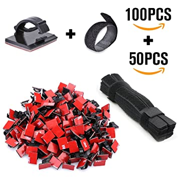Cable Management - 100 PCS Adhesive Cable Clips + 50 PCS Cable ...