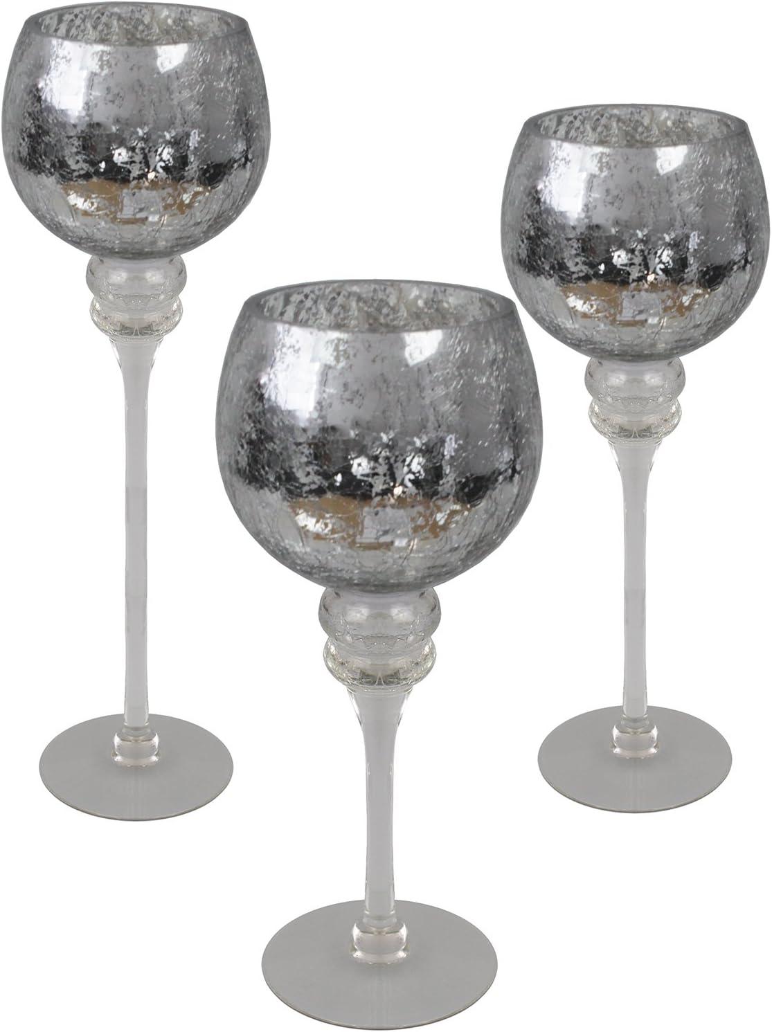 30cm avec calice argent/é en verre bris/é sur le pied 3 pi/èces Ensemble de coupe-vent en verre calice H40 35