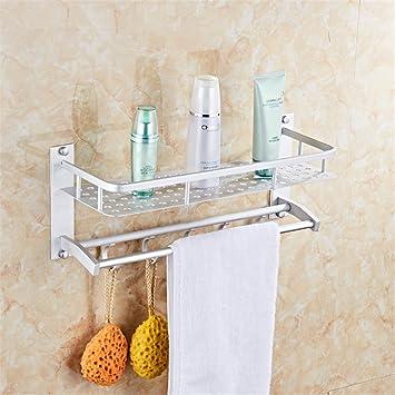 Wall Mounted Aluminum Bathroom Shelves Shower Caddy with 2 Towel Bar ...
