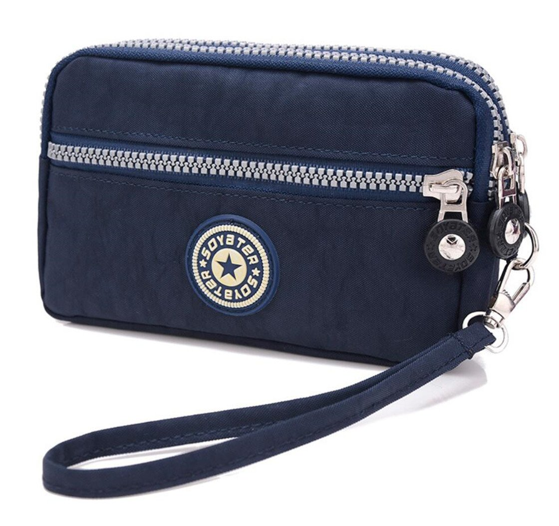 3 Zippers Clutch Wallet Waterproof Nylon Cell phone Purse Wristlet Bag Money Pouch for Women (Navy Blue)