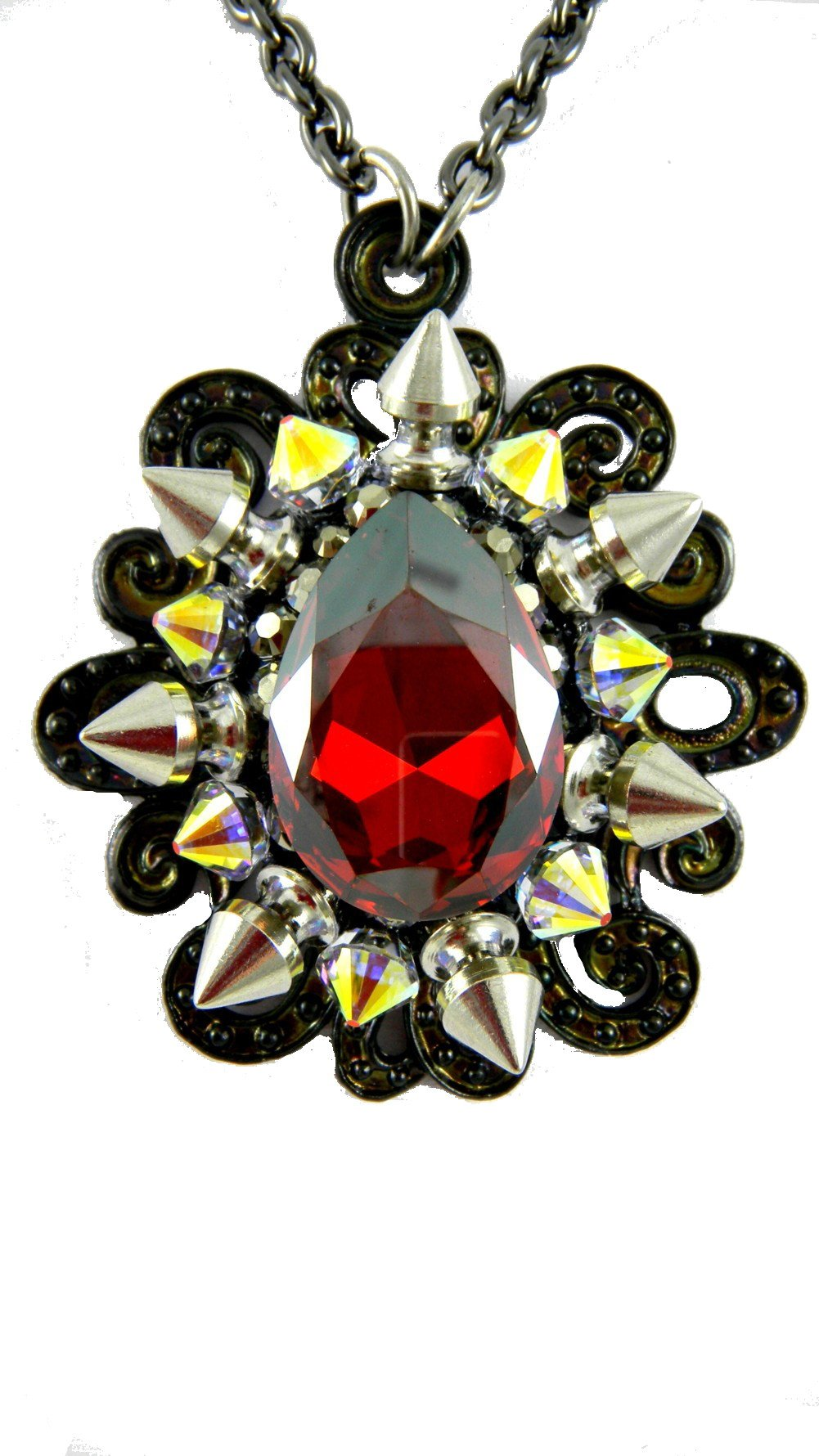 Rocker Jewelry Red Magma warovski Crystal Drop Pendant Crystal Spikes Chain Length: 18 Inch