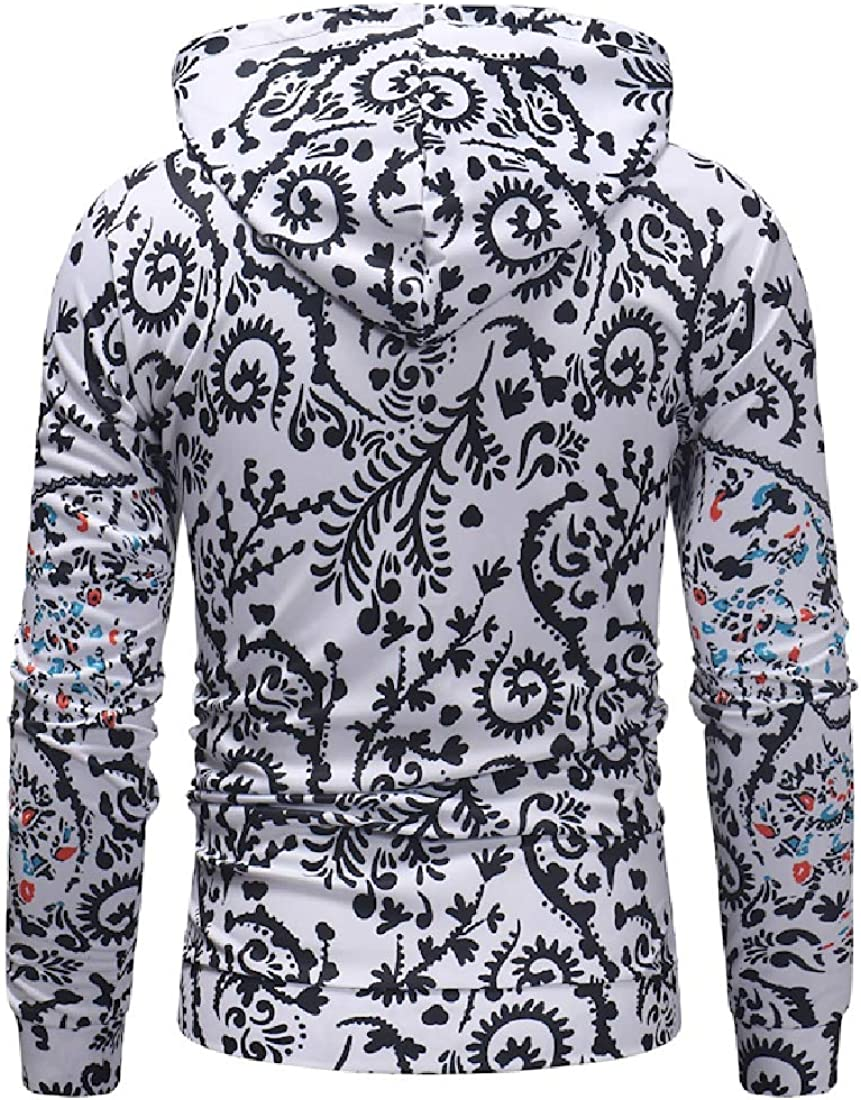 YUNY Mens Fleece Hood Relaxed-Fit Digital Print Outwear Sweatshirts White M