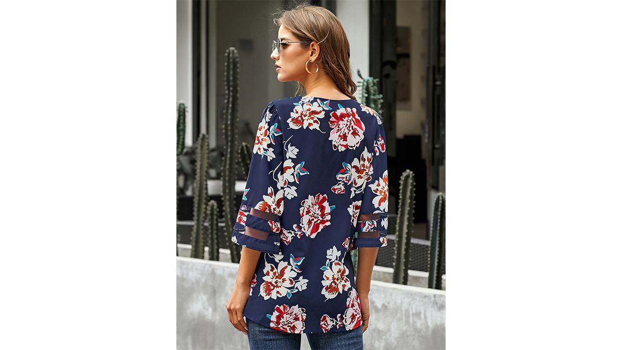 LookbookStore Women's V Neck Mesh Panel Blouse 3/4 Bell Sleeve Loose Top Shirt 6