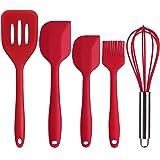Deik Löffel-Set 5 pcs Küchenutensilien Silikon-Spachtel, Löffel, Bürste, Peitsche Red