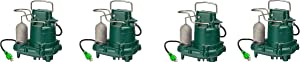 Zoeller M63 Premium Series 5 Year Warranty Mighty-Mate Submersible Sump Pump, 1/3 Hp (Pack of 4)