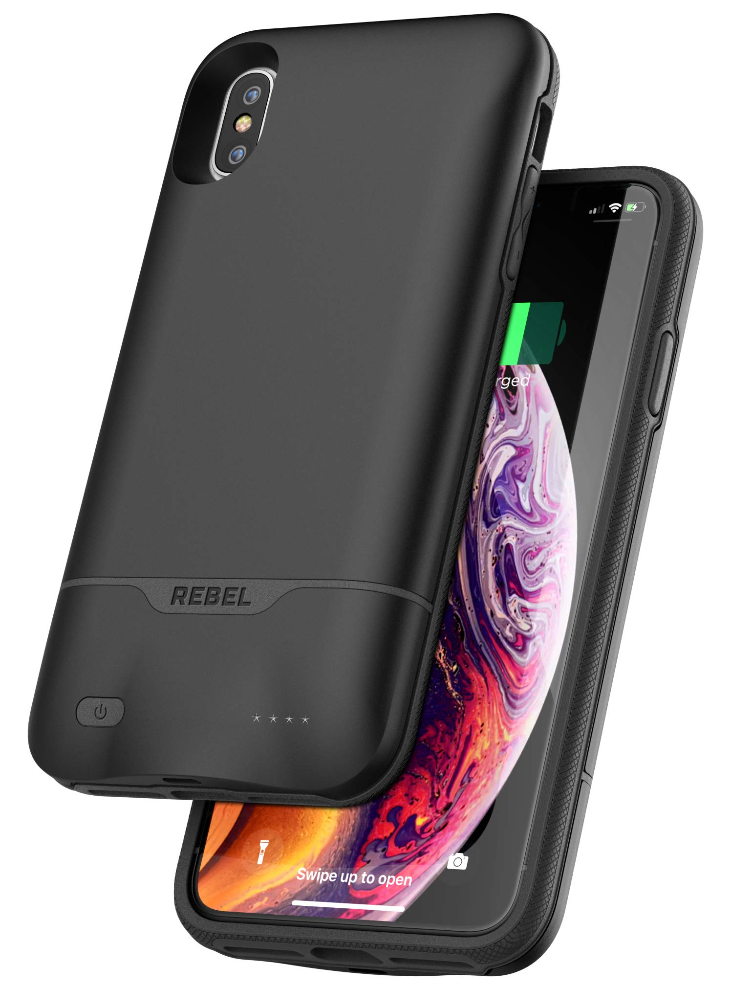 Encased iPhone Xs Max Battery Case - 5270mAh Protective Charging Case with Extended Smart Power Reserve (Rebel Black)