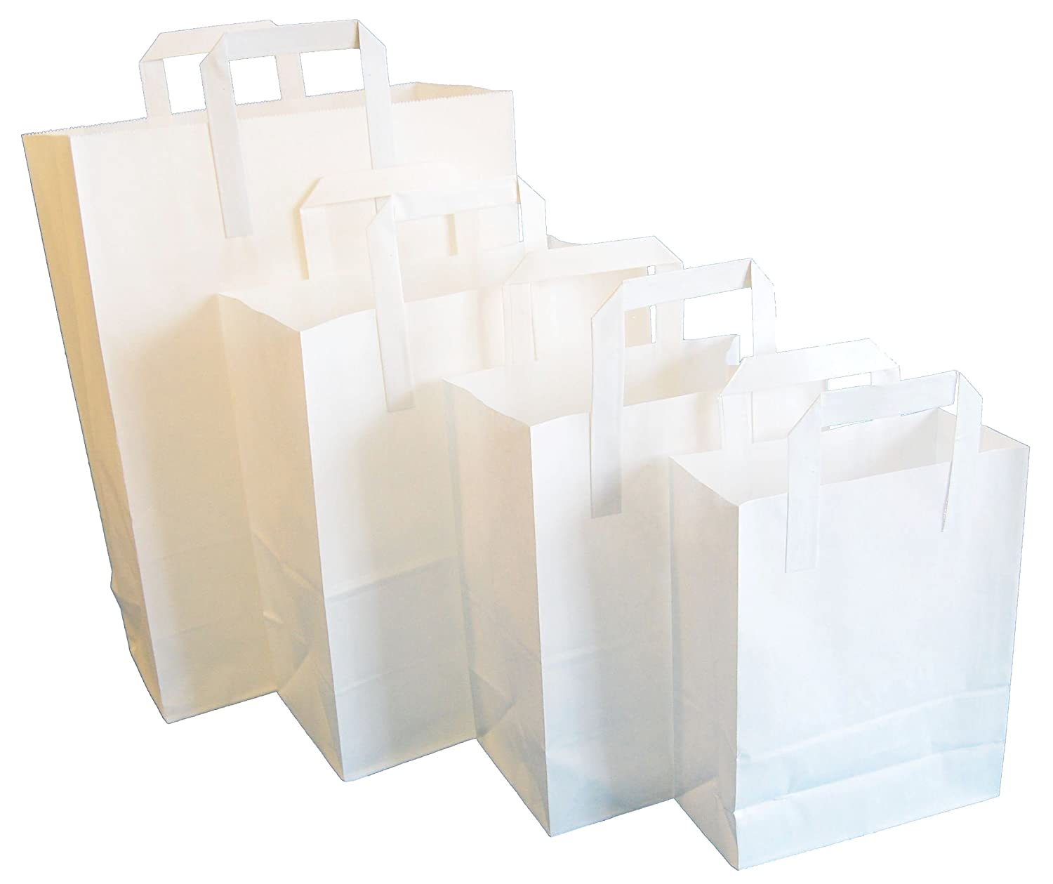 50 WHITE SMALL SOS TAKEAWAY PAPER CARRIER BAGS 180x220x76mm CHOOSE YOUR SIZE AND QUANTITY
