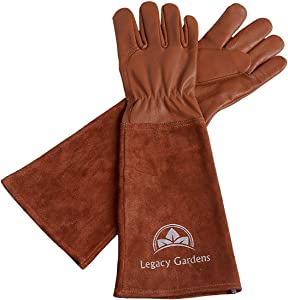 Legacy Gardens Leather Gardening Gloves for Women and Men | Thorn and Cut Proof Garden Work Gloves with Long Heavy Duty Gauntlet | Suitable For Thorny Bushes Cacti Rose Pruning - Large Brown