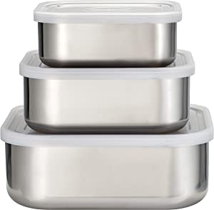 Tramontina 3Pc Stainless Steel Covered Square Container Set - Frosted Lids