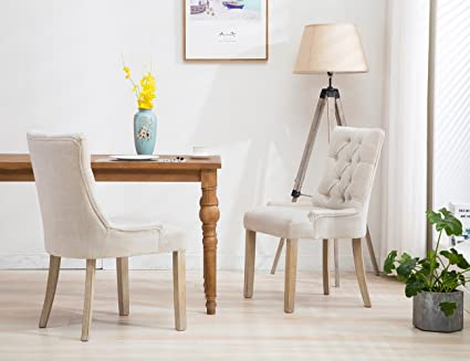 Amazon.com: Formal Tufted Upholstered Dining Chairs, Rustic ...