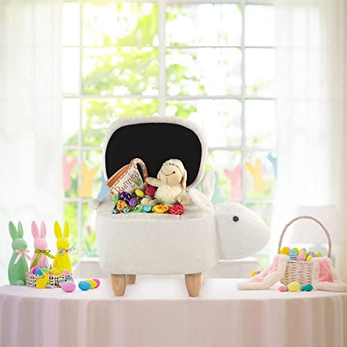 Critter Sitters 15-in. Seat Height Plush White Animal Shape Easter Bunny Storage Ottoman