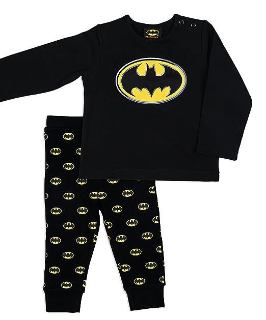 Batman Pijama para niño, color negro, talla 2 años