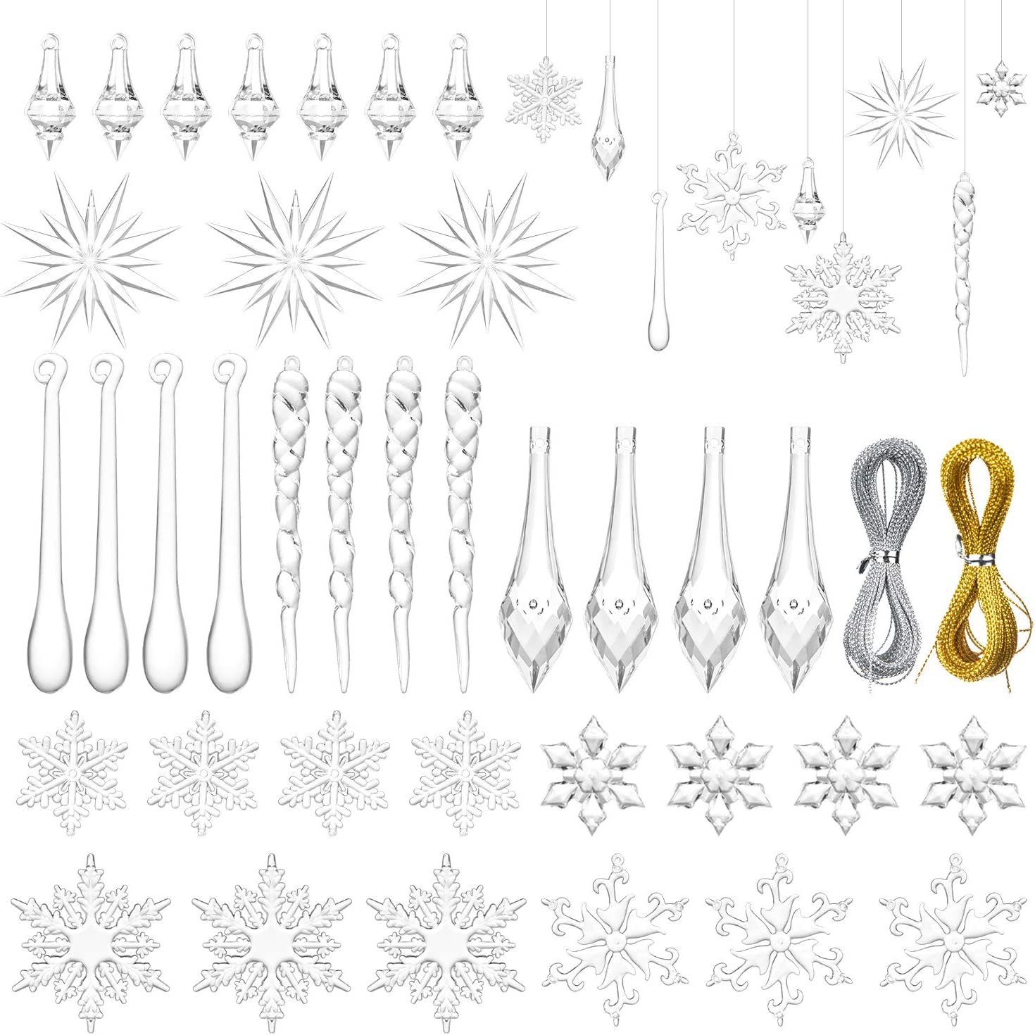 Artiflr Christmas Snowflake Decorations 59 Pcs Icicles Ornaments Set Clear Snowflake Acrylic Christmas Ornaments For Santa Outdoor Party Decoration Craft Projects Home Kitchen