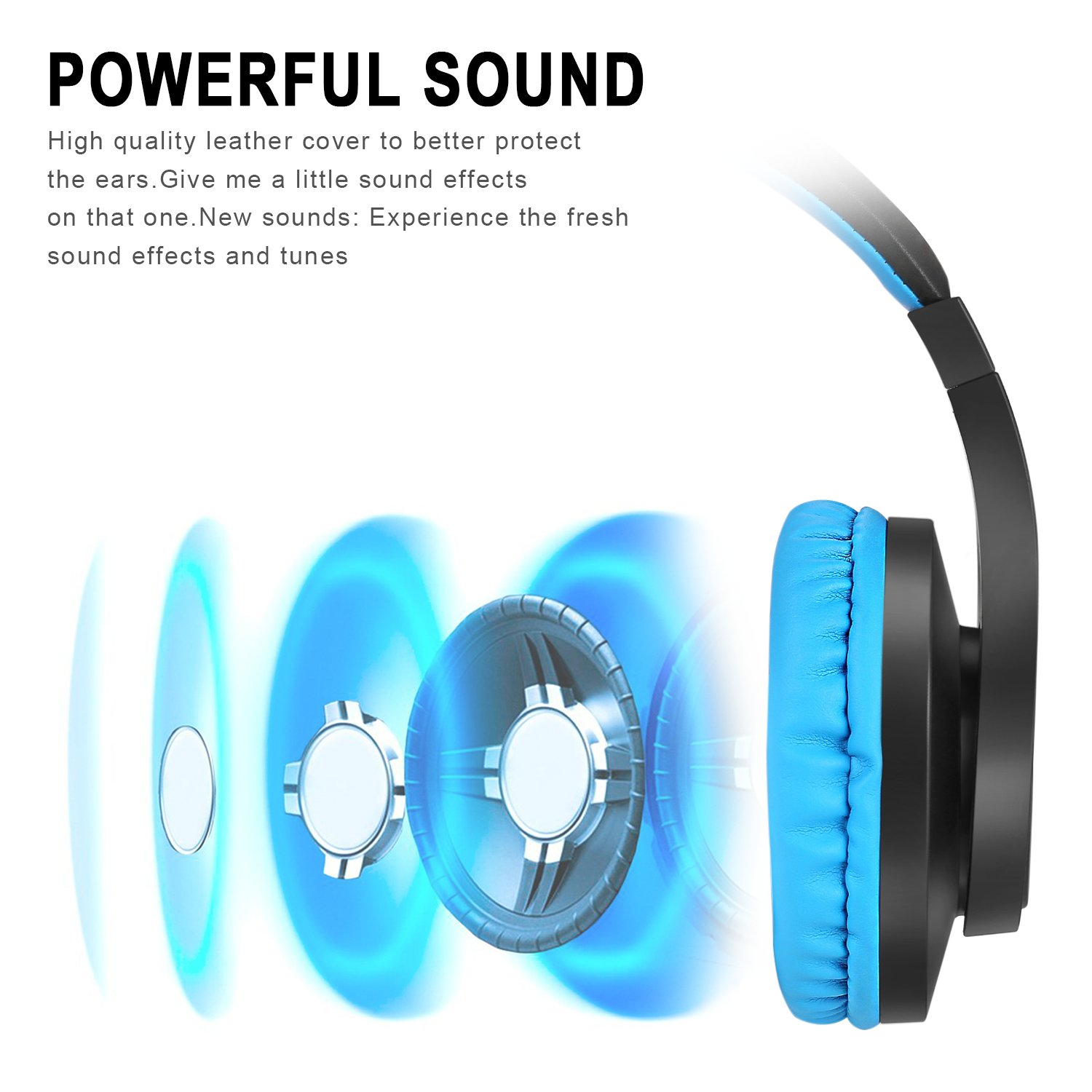 DIWUER Stereo Wired Gaming Headset for PS4 Xbox One 3.5mm Bass Over-Ear Headphones with Mic Noise Isolation for Laptop PC Mac iPad Phones (Black Blue) by DIWUER (Image #2)