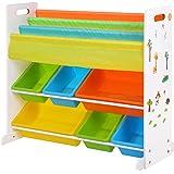 SONGMICS barnhylla, hylla för barnrum, bokhylla, förvaringshylla med lutningsskydd, 6 lådor av plast, lättskött…