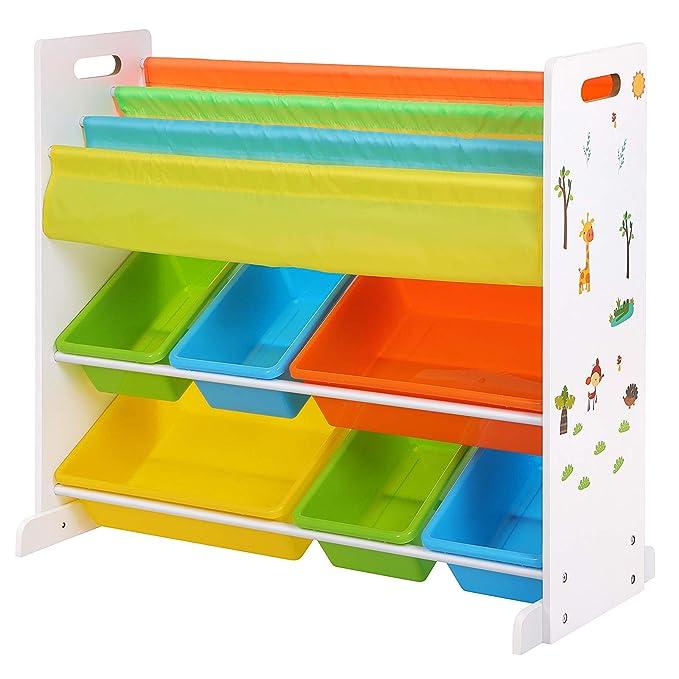 SONGMICS Kinderregal Kinderzimmerregal Bücherregal Aufbewahrungsregal mit Kippschutz 6 Kästen aus Kunststoff pflegeleicht auf