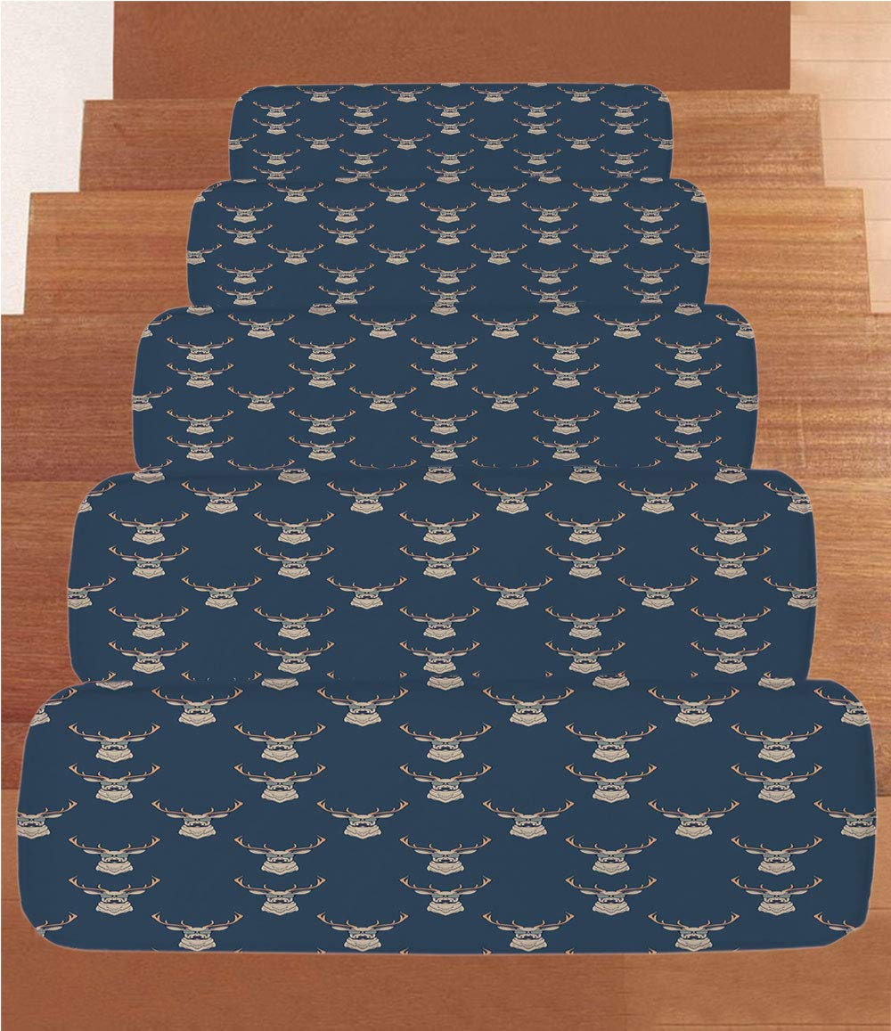 iPrint Non-Slip Carpets Stair Treads,Deer,Hipster Inspired Deer with Antlers Glasses Mustaches Funny Animal Pattern Vintage,Slate Blue Tan,(Set of 5) 8.6''x27.5''