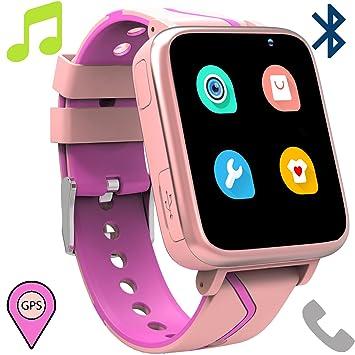 Telefono Reloj Inteligente La Musica Niños - MP3 Player Smartwatch con Localizador LBS Chat de Voz Despertador Camara Linterna Podómetro per Niño y ...