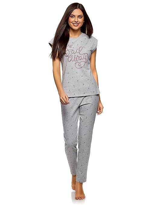 oodji Ultra Mujer Pijama de Algodón con Pantalones, Gris, ES 42 / L: Amazon.es: Ropa y accesorios