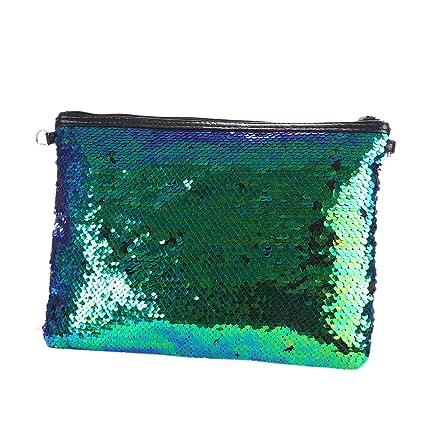Haodou Lentejuelas de Un Solo Color Bolso Embrague Cambio Paquetes Simple Moda Bolsos de Hombro Mujer