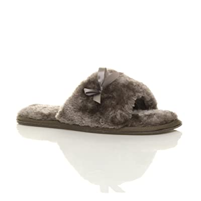 Ajvani Women's Flat Peep Toe Luxury Cosy Fur Slippers Size