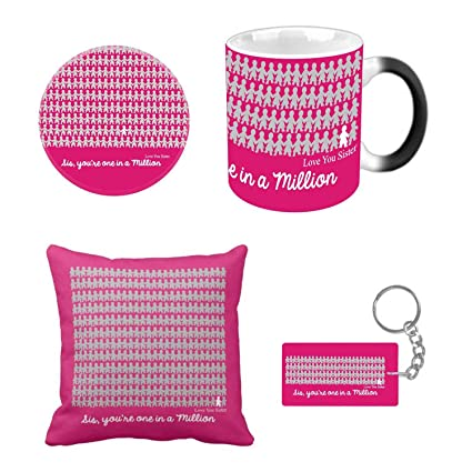 Buy Giftsmate Birthday Gifts For Sister Combo Best Sis In Million Magic Mug With Coaster Cushion Cover Keychain Set Of 4 Online At Low