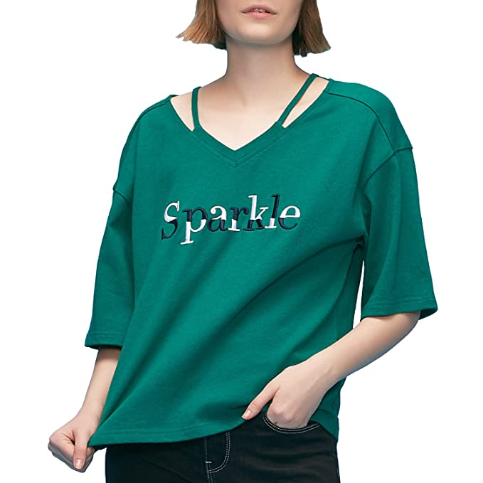 f18bd43ec49b TOYOUTH Women's Hollow Out V-Neck Casual T-Shirts Blouse Tops Green Medium