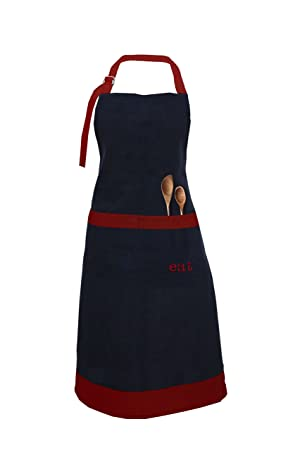 Milano HomeEat Embroidered 100% Cotton Apron with Adjustable Neck & Centre Pockets - Red