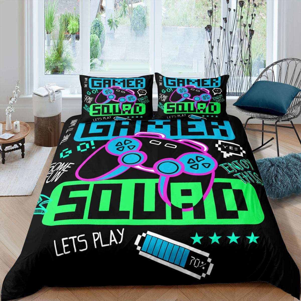 Gamepad Comforter Cover Set Videogame Controller Printed Bedding Set Girls Teen Player Gaming Duvet Cover for Teen Boys Bedroom Decor Bedspread with Zipper Ties Soft Microfiber Quilt Set, Twin Size