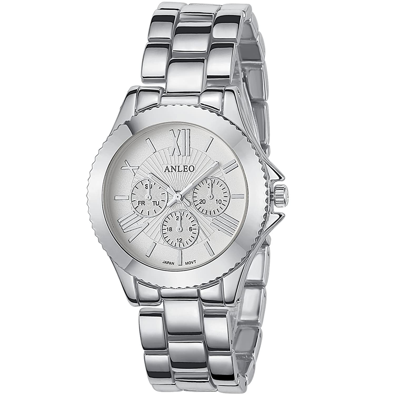 anleowatch 1pcs女性用ドレス腕時計ステンレススチールBackメタルストラップスポーツクォーツ腕時計6081-silver B011XNSU6I