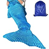 """Amazon Price History for:Heartybay Crochet Mermaid Tail Blanket for Adult, Super Soft All Seasons Sleeping Mermaid Blanket (71""""x35.5"""") - Blue"""