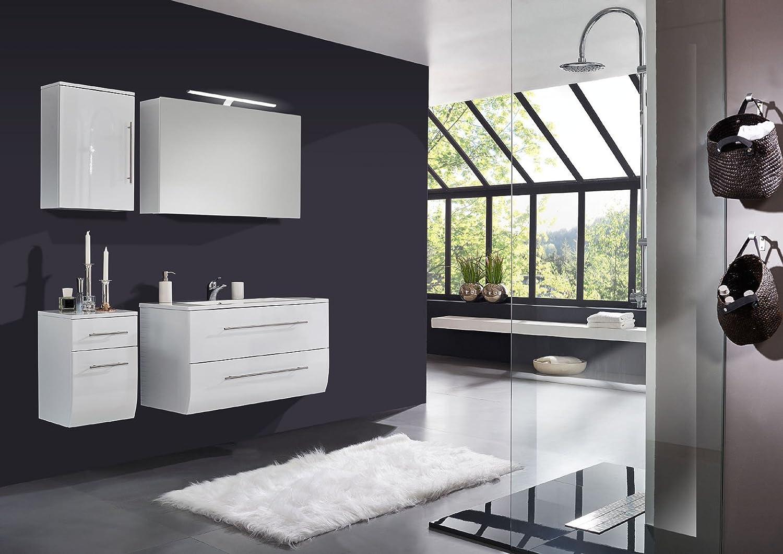 SAM® Badmöbel-Set Niagara Deluxe 4tlg, 120 cm, hochglanz weiß, mit Mineralguss-Waschbecken, Softclose-Funktion, Badezimmer mit Waschplatz, Spiegelschrank, Hängeschrank und Unterschrank