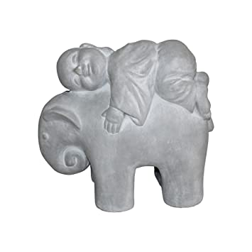 Homea 5dej1327bc Statue Monk Elephant Drawing Chalk White 41 x 19 x 35 cm