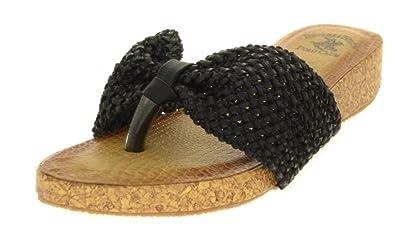 6e837986d Beverly Hills Polo Club Corky Women's Low Wedge Flip Flop Sandal Thong (6,  Black