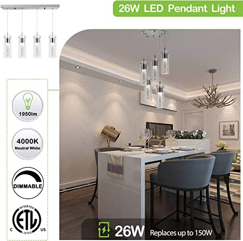 5-Light Pendant Ceiling Fixture, Integrated LED Kitchen Lighting, 30W 180 Watt Equivalent CRI 90 , 2250lm Premium Bubble Glass with Chromed Finished ETL Listed