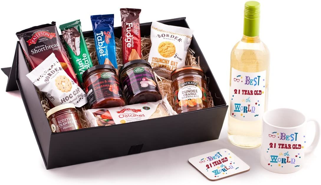 21 Year Old Birthday Hamper Unique Gift Idea For Any 21st Birthday Includes Best 21 Year Old In The World Wine Mug And Coaster To Make A Special Present For Him