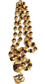 J S Imitation Rudraksh Mala With Gold Plated OM Inspired Pendant Set For Men Boys Girls & Women