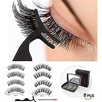 Joyevic Magnets Extension Magnetic Eyelashes,Reusable Magnetic False Eyelashes 3D 3 Soft individual False Eyelashes No Glue With Tweezers for Women Makeup Natural Look 8 Pcs